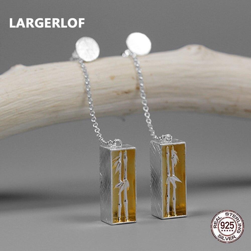 LARGERLOF Real 925 Sterling Silver Jewelry Earrings Women Fine Jewelry Handmade Bamboo Three-Dimensional Earrings ED49054