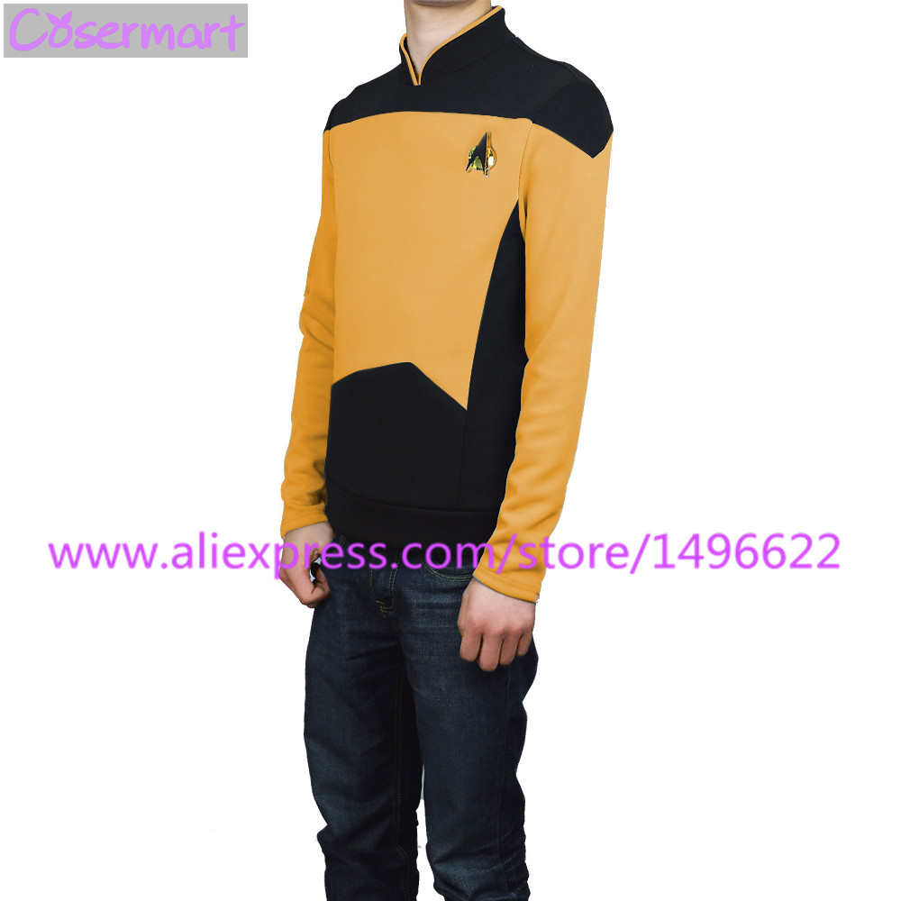 Star Trek TNG The Next Generation Red Yellow Blue Shirt Uniform Cosplay Costume For Men Coat Halloween Party (4)