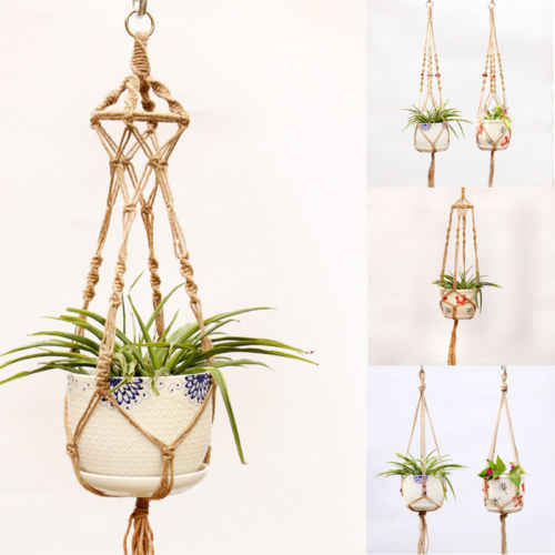 Garden Decoration Vintage Macrame Plant Hanger Flower Pot Garden Holder Legs Hanging Rope Basket Handcrafted Braided Hanger Pot