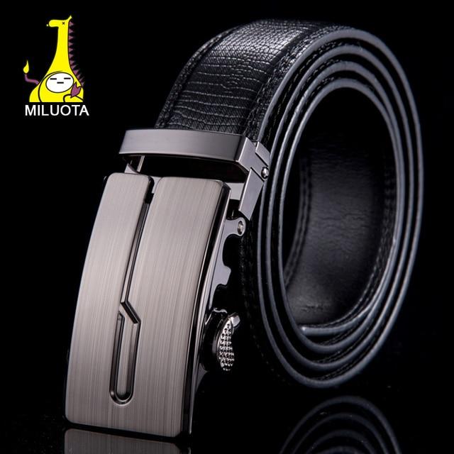 [MILUOTA] Genuine leather belts for men brand strap metal  automatic buckle men belt fashion ceintures homme WN020