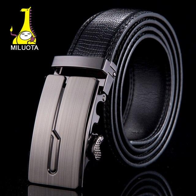 [Miluota] correa cinturones de cuero genuino para los hombres de la marca de metal hebilla automática hombres cinturón de moda ceintures homme wn020
