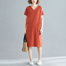 Nefeilike Plus Size Women Solid Dress Summer V Neck Cotton Casual Female Lady Holiday Maxi T Shirt