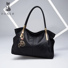 FOXER Authentic Brand Women's Genuine Leather Handbag Fashion Female Big Tote Shoulder Bags High Quality Top-Handle Bags