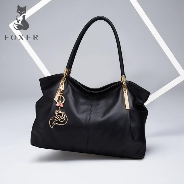 FOXER Marca Autêntica das Mulheres Couro Genuíno Bolsa Moda Feminina Grande Tote Sacos de Ombro de Alta Qualidade Top-Handle Bags