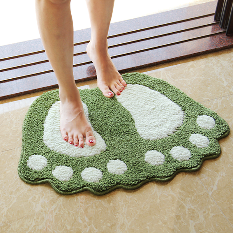 Suede Foot Shaped Door Mat Wooden Floor Protection Rug