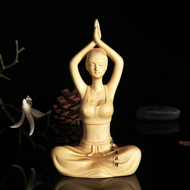 Wood carving handicrafts practicing yoga girl character beauty statue, desktop Decoration home decorations ornaments(A011)Wood carving handicrafts practicing yoga girl character beauty statue, desktop Decoration home decorations ornaments(A011)
