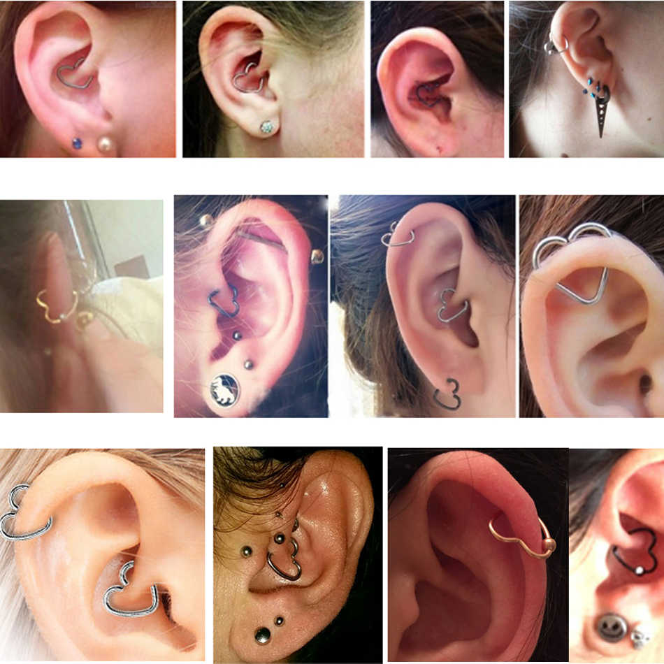 1pc 316l Surgical Steel Daith Heart Star Ring Cartilage Tragus Piercings Hoop Lip Nose Rings Orbital Ear Stud Helix Jewelry 20g