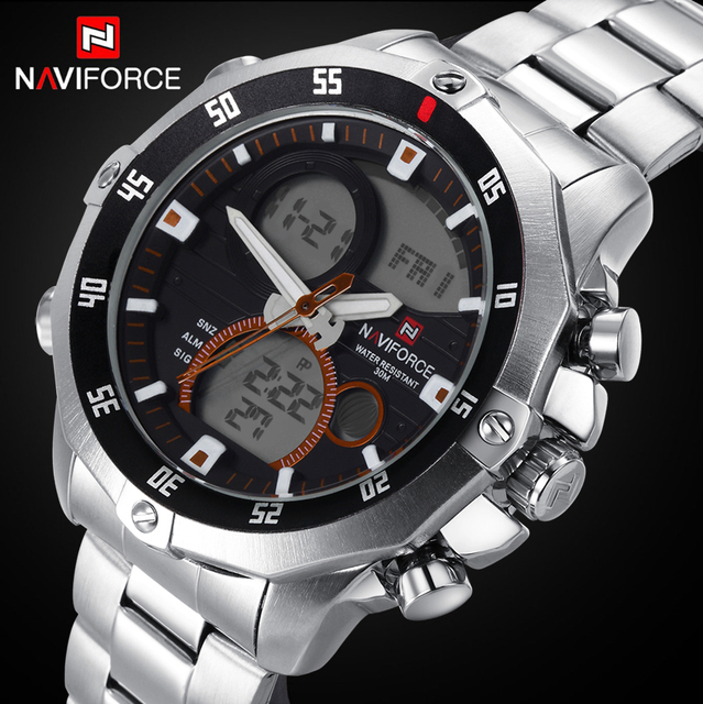 Men Watches NAVIFORCE Luxury Solid Steel Rotary Dial Quartz Clock Digital LED Hours Military Sport Watches relogio masculino