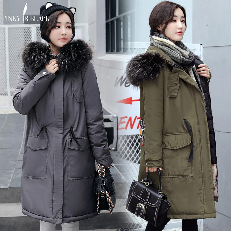 Pinky Is Black Fashion Hooded Warm Long Parkas Thick Winter Coat Women 2017 Solid Color Down Cotton Winter Jacket Women Outwear pinky is black new warm long winter women jacket hooded cotton padded parkas wadded down cotton basic coat casacos feminino