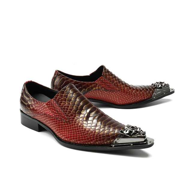 Zobairou 2018 Italian Shoes Men Leather Purple Brown Colors High Heels  Oxfords Snake Skin Pointed Toe d9dd6e41a285