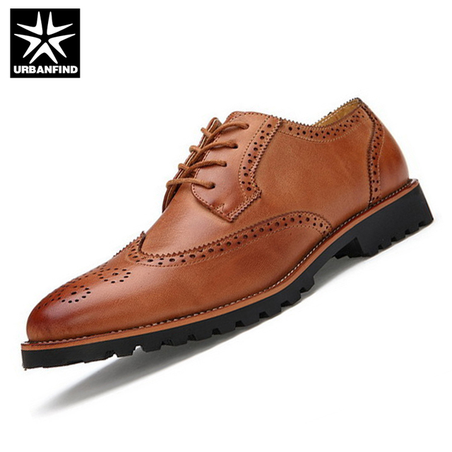 URBANFIND British Style Men Brand Fashion Brogue Shoes EU Size 38-43 Black / Brown Man Lace-up Leather Shoes Casual Oxfords