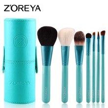 ZOREYA 7 шт.. набор кистей для макияжа Professional Румяна для губ порошок основа тени для век инструменты для макияжа натуральный козья шерсть косметический инструмент