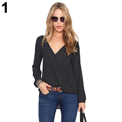 Women s Deep V Neck Sexy Solid Color Chiffon Long Sleeve Blouse Casual Top
