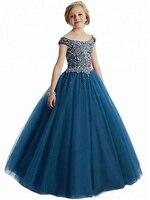 Beads Sequins Girls Pageant Dress Flower Girl Dresses For Wedding Crystal Kids Formal Wear 2019lx