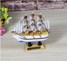 Wooden Sailboat Simulation Model Baby toys Handicrafts 10cm