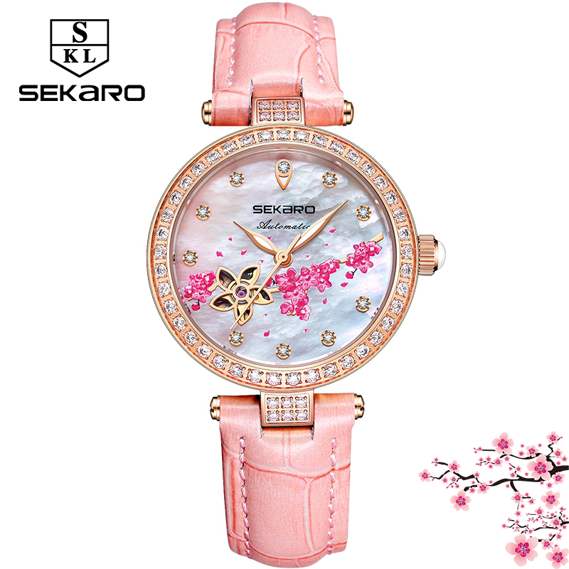 Sekaro Women Automatic Clock Flower Design Watch Womens Mechanical Wristwatch Top Brand Luxury Women Watches Relogio FemininoSekaro Women Automatic Clock Flower Design Watch Womens Mechanical Wristwatch Top Brand Luxury Women Watches Relogio Feminino