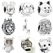 Vintage Punk Cute Animal Dog Cat Owl Snake Mickey Cartoon Alloy Beads Fit Pandora Charm Bracelets for Femme DIY Jewelry Pulseras(China)