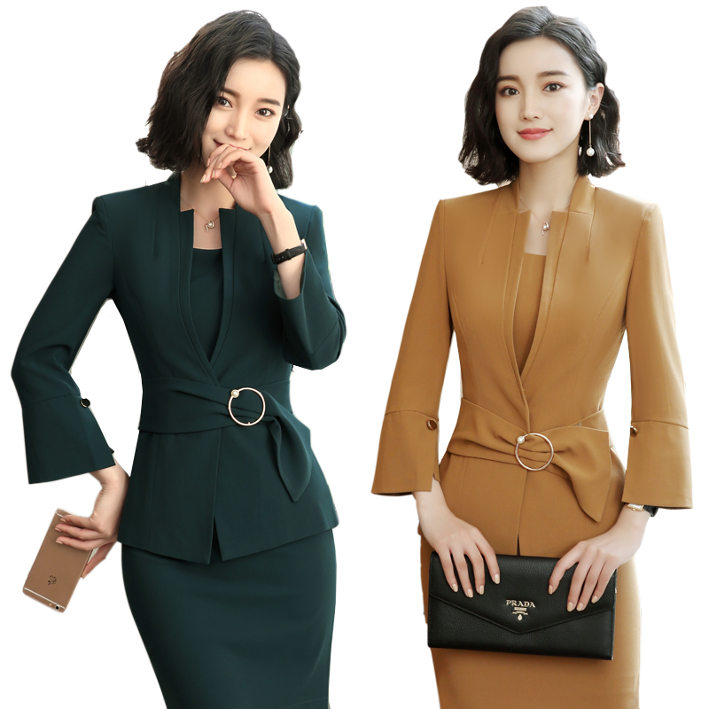 New Green Horn sleeve Autumn office OL business suit Women's Suit Blazer Coat + Dress Two Pieces Leisure Dress Suit Work women s business suit dress