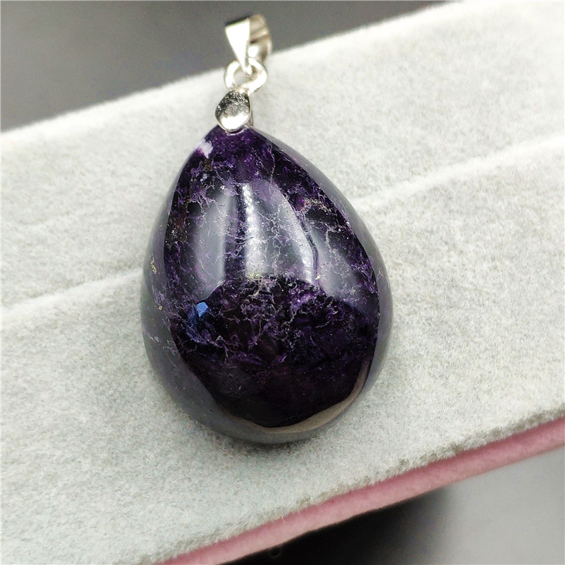 Natural Sugilite Necklace Pendant Water Drop 28x21x14mm Lucky Clear Stone Women Men Love Anniversary Gift Fashion Pendant AAAAA
