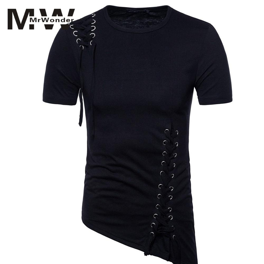 mrwonder Braided Rope Slid T-shirts Solid Black Top Short Sleeve Summer T-Shirt Unique Irregular Hem O-Neck M-XXL Big Size SAN0