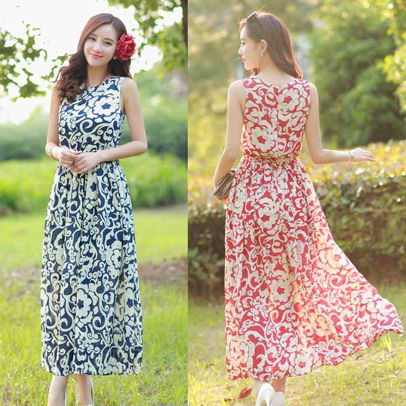 b828e3252ea 2015 Summer Vintage Print Boho Beach Dresses Women Clothing Summer Casual  Long Chiffon Bohemia Maxi Dress Free Size Dress11-in Dresses from Women s  Clothing ...