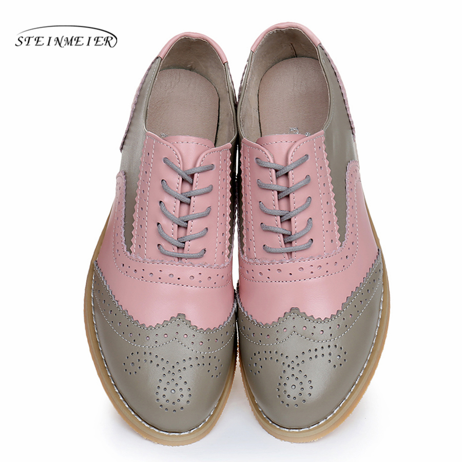 Genuine leather big woman US size 10 designer vintage flats shoes round toe handmade pink grey 2019 oxford shoes for women fur cow leather big woman us size 9 designer vintage flats shoes round toe handmade grey yellow oxford shoes for women with fur