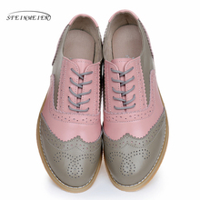 Genuine leather big woman US size 10 designer vintage flats shoes round toe handmade pink grey 2019 oxford shoes for women fur