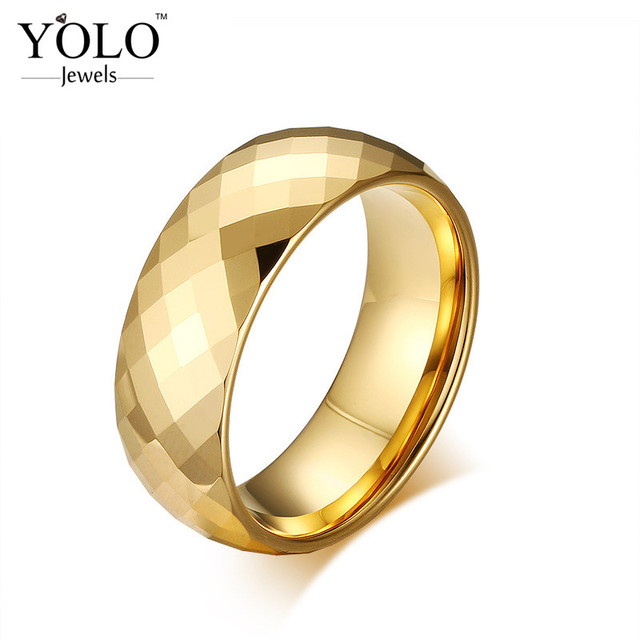 Gold Color Fancy Tungsten Wedding Rings for Men Vintage Ring for Boys Suitable for Engagement Love Gift for Boyfriend or Father