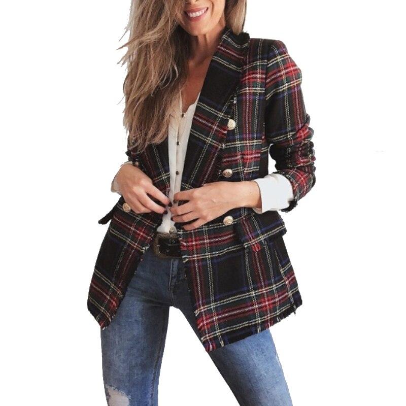 2019 винтажный твидовый в клетку пиджак с длинными рукавами Veste Femme Modis женские новые весенние уличные двубортные куртки с карманами