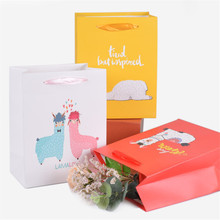 Alpaca Paper Gift Bags Colorful Candy Bag For Party Baby Shower Birthday Box Supplies