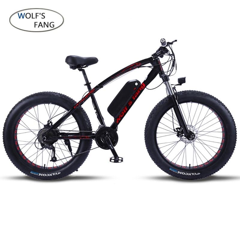 Волк Клык Mountain электровелосипед 48V500W 12Ah 27 скорость 26X4,0 мощный электровелосипед на толстых покрышках литиевая батарея Off road велосипед