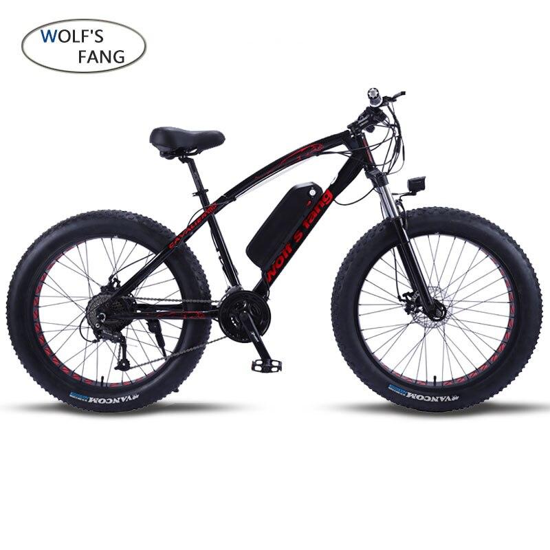 Lupo fang Mountain Bike Bicicletta Elettrica 48V500W 12Ah 27 velocità di 26X4.0 potente Grasso bici elettrica Batteria Al Litio off bici da strada