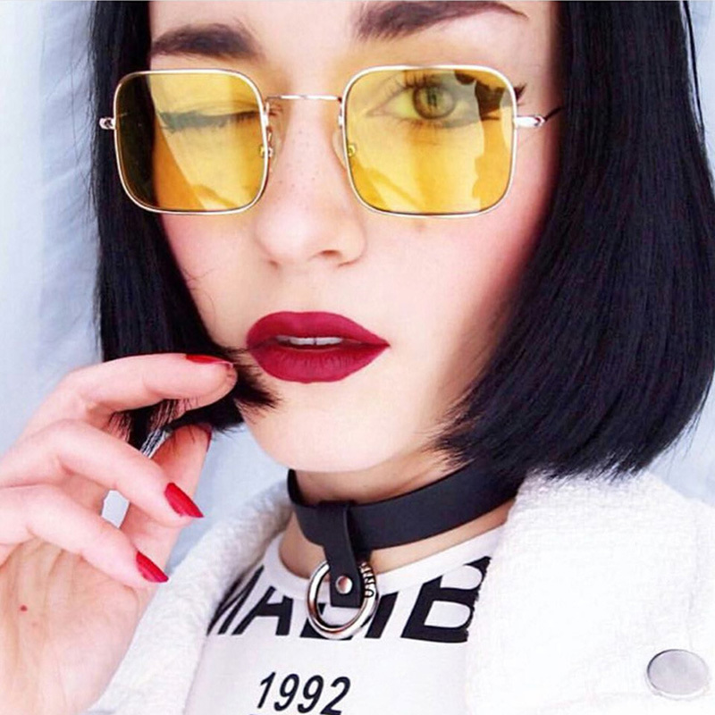 New retro small square sunglasses fashion personality men and women trend sunglasses transparent ocean film sunglasses(China)