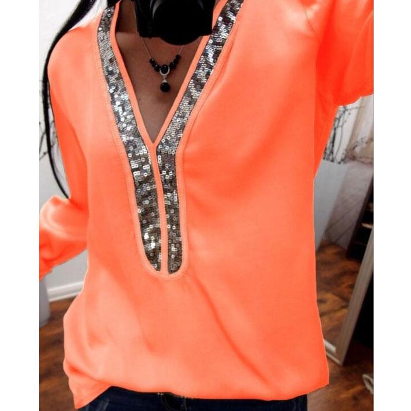 Lady pink khaki Taille En Élégante De Office Paillettes Soie Grande Femmes Printemps Black Chemise purple Blouse S Blouses white Hauts 5xl orange V cou Mousseline Sexy xTwOnwq1g