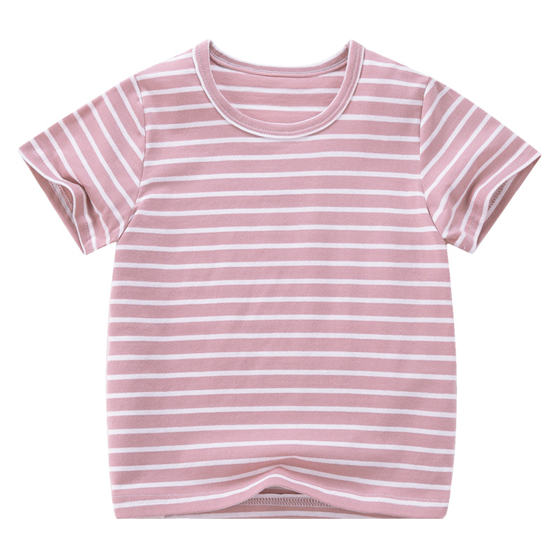 VIDMID Boy Girl Tee Solid Color t-shirts Baby Boys Girl T-shirts Summer striped Short Sleeve Kids Tees Children Clothing 7042 06 3