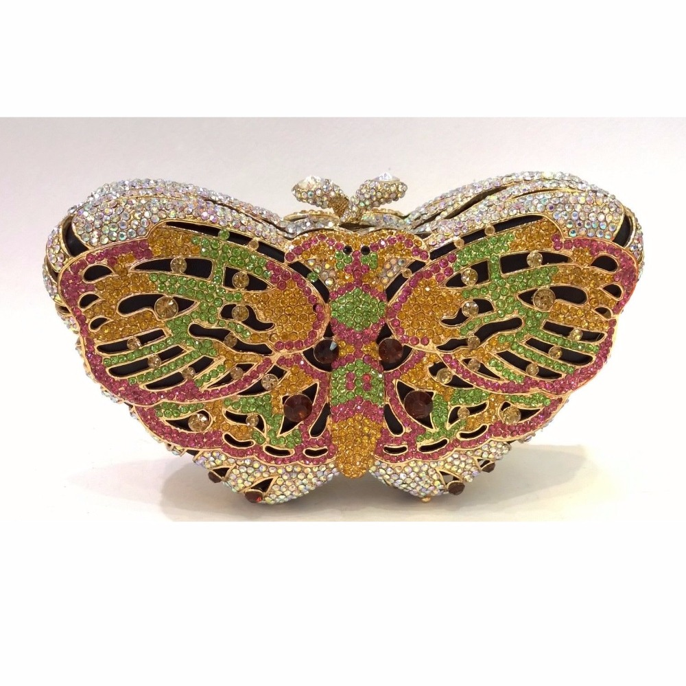 ФОТО Butterfly color-E Crystal lady fashion Bridal Party hollow Metal Evening purse clutch bag case box handbag