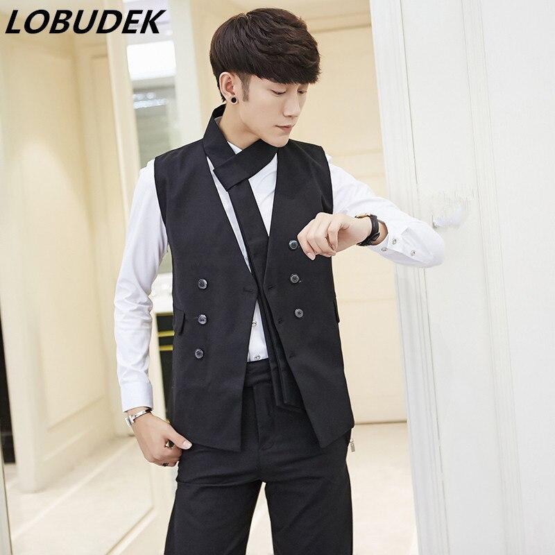 vest pants male suit tide men slim vest trousers 2 pieces set nightclub stage costumes