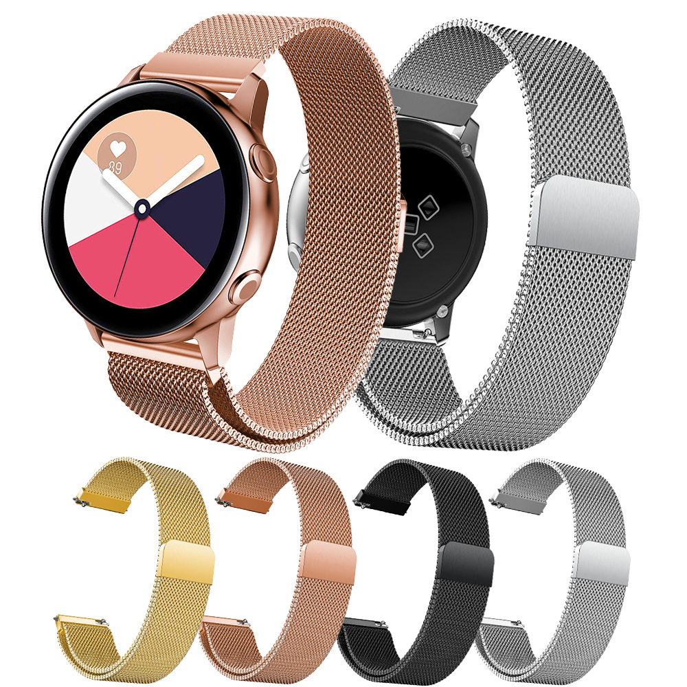 Milanese Loop Bracelet For Samsung Galaxy Watch Active Bands Straps Stainless Steel Rose Gold Watch Strap 20mm Watch Band Wrist