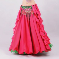 New 2017 Double Colors Women Belly Dance Clothes Full Circle Maxi Skirt Side Split Long Skirt