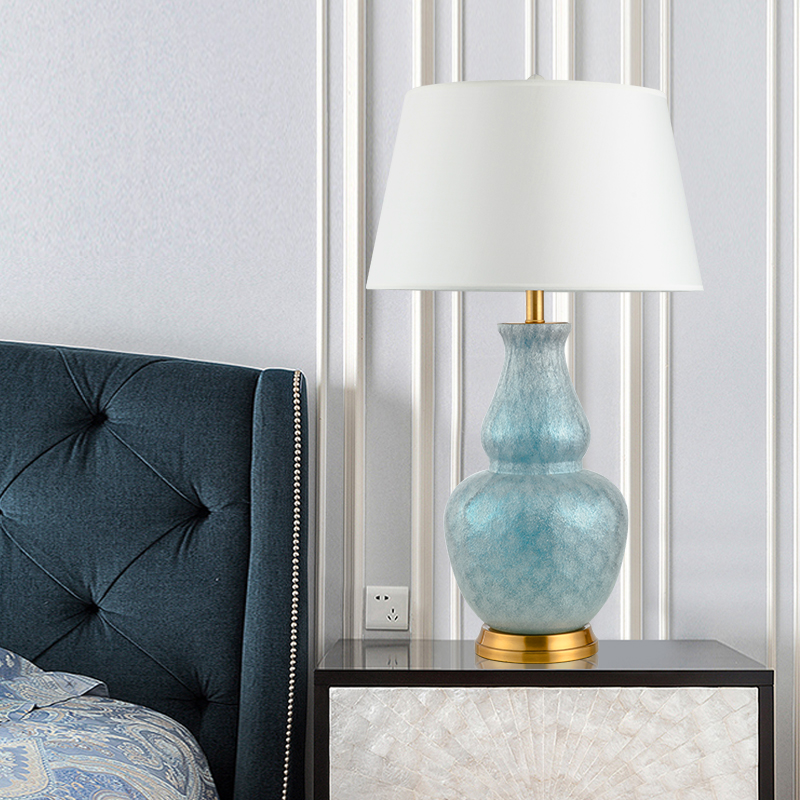 US $239.24 21% OFF|Modern Tiffany Style Table Lamp Bedroom Bedside Crystal  Blue Table Lamps Home Deco Desk Lamp Cover Living Room Hotel Desk Light-in  ...