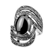 b9c1b28ba97a Vintage de cristal negro ópalos anillos Retro mujeres de plata de joyería  de color anillo punk Bijoux anel masculino bague femme.