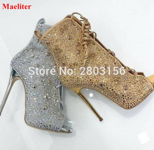 Rhinestone Peep Toe Shoes Women High heels Stiletto Heel Gladiator Sandals Boots Ladies Crystal Lace Up ankle booties rihanna gladiator over knee high heel boots sexy women lace up peep toe stiletto sandals party fetish shoes motorcycle boots