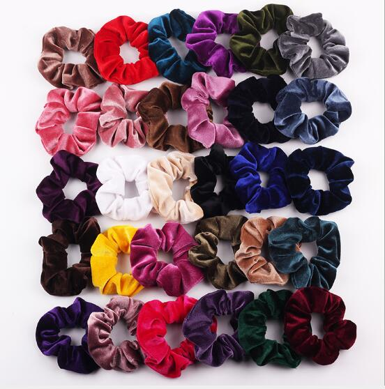 New Arrival NEW Fashion Women Velvet Solid Hair Bands Cute Hair Scrunchies Girl's Korea Hair Tie Accessories Ponytail Holder