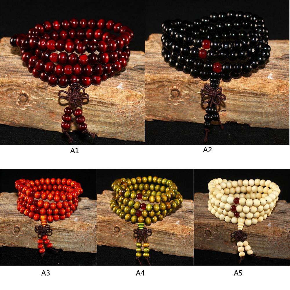 108 Beads Sandalwood Buddhist Buddha Meditation Wooden Beaded Mala Bracelet For Women Men Prayer Rosary Hanging Decoration