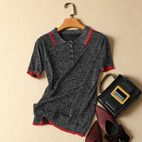 2018 Summer New Women Knitted Short Sleeved T Shirts Fashion Slim Office Lady Tops Elegant Outwear