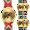 Genebra das mulheres Mistura De Algodão Étnica Trançado Cadeia de Quartzo Analógico Relógio de Pulso Pulseira Elefante Design New Hot Selling