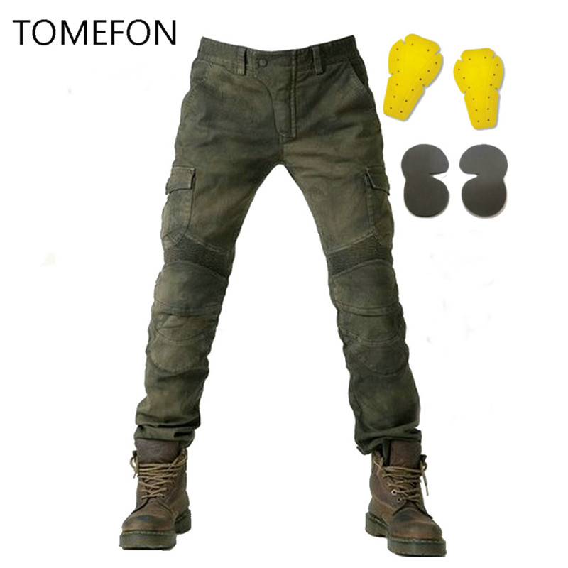 2018 MOTORPOOL USB02 KOMINE Army Green black Slacks jeans Motorcycle Ride Jeans Leisure Loose Version With Protective Equipment