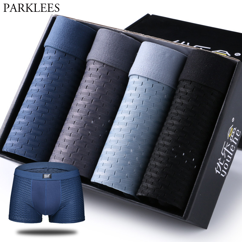4pcs/lot Ice Silk Boxer Shorts Men Solid Color Soft Underwear Breathable Mesh Sexy Man Boxer Homme Cueca Masculina Underpants