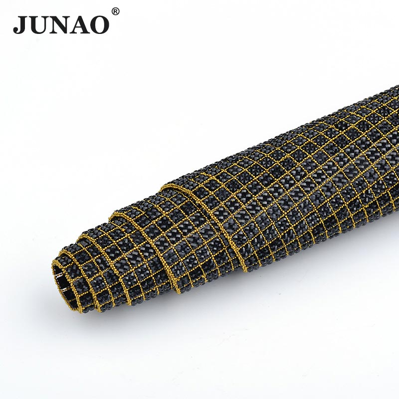 JUNAO 24 40cm Black Color Hotfix Crystal Rhinestones Trim Banding Resin  Strass Beads Applique Crystals Mesh Fabric For Crafts-in Rhinestones from  Home ... abfc6c37afce