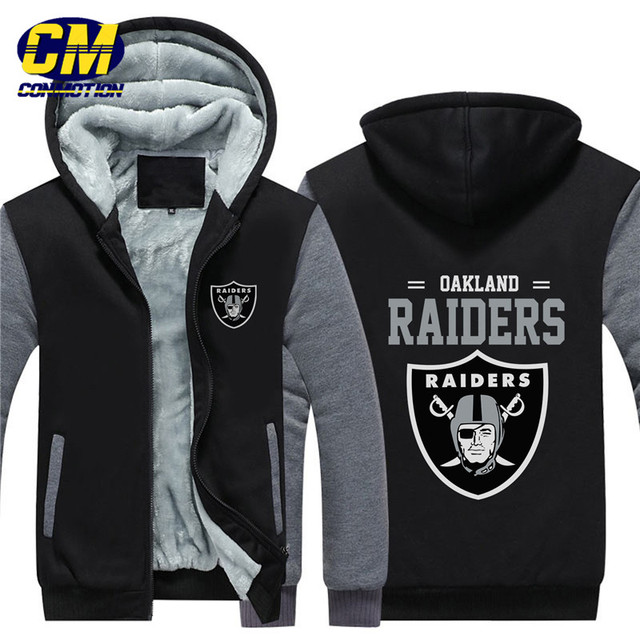 NFL American football winter thicken plus velvet zipper coat hooded  sweatshirt casual jacket Oakland Raiders 865f4057e01